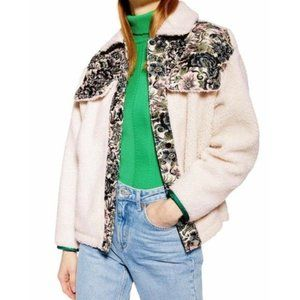 Topshop shearling floral patchwork jacket small